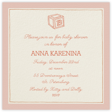 Drawn Seal Border - Antique Pink - Paperless Post - Baby Shower Invitations