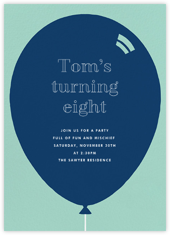 Birthday Balloon - Dark Blue - Paperless Post - Invitations