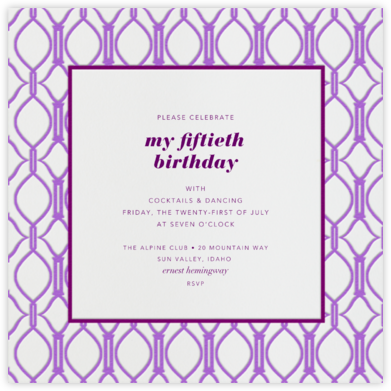 Cadogan Purple Square - Paperless Post - Adult Birthday Invitations