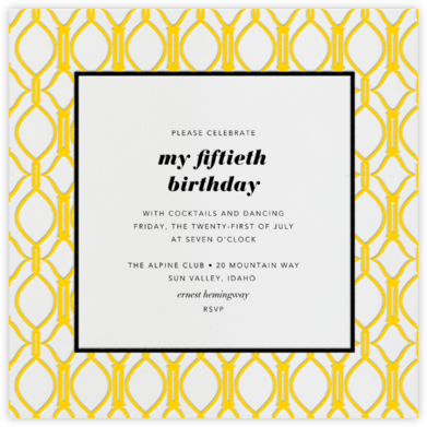 Cadogan Yellow Square - Paperless Post - Adult Birthday Invitations