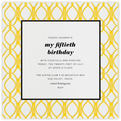 Cadogan Yellow Square - Paperless Post - Adult Birthday Invitations