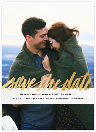 Clarissa (Full Photo) - Gold - Paperless Post - Modern save the dates