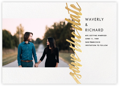 Clarissa (Landscape Photo) - Gold - Paperless Post - Modern save the dates