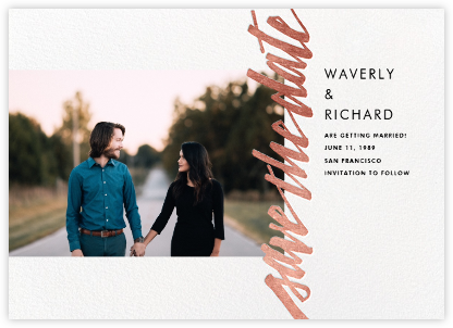 Clarissa (Landscape Photo) - Rose Gold - Paperless Post - Photo save the dates