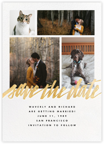 Clarissa (Multi-Photo) - Gold - Paperless Post - Gold and metallic save the dates