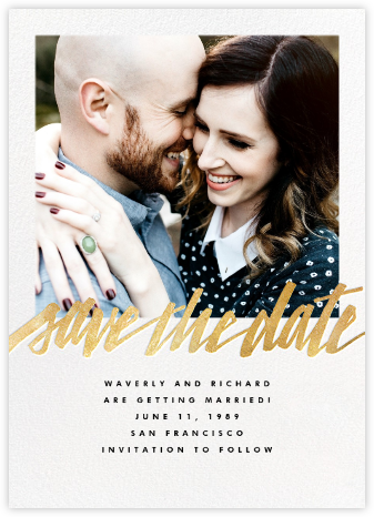 Clarissa (Square Photo) - Gold - Paperless Post - Save the date cards and templates