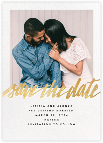 Clarissa (Square Photo) - Gold - Paperless Post - Modern save the dates