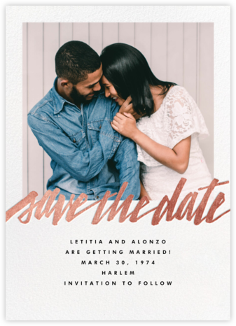 Clarissa (Square Photo) - Rose Gold - Paperless Post - Photo save the dates