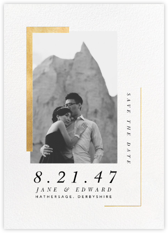 Ando (Photo Save the Date) - Gold - Paperless Post - Gold and metallic save the dates