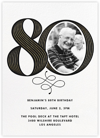 Pinstripe Numerals (Eighty) - Paperless Post - Milestone Birthday Invitations