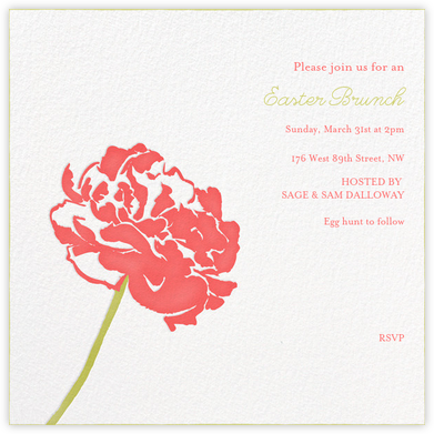 Carnation (Square) - Coral/Chartreuse - Paperless Post - Easter Invitations