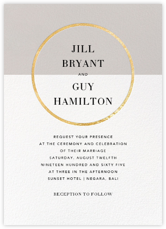 Burgoyne (Invitation) - Oyster/Gold - Paperless Post - Wedding Invitations
