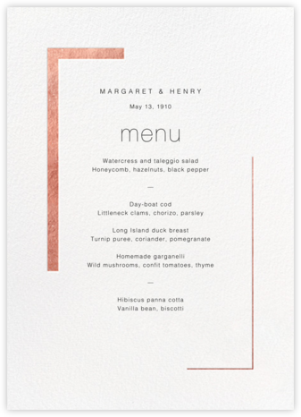 Ando (Menu) - Rose Gold - Paperless Post - Wedding menus and programs - available in paper
