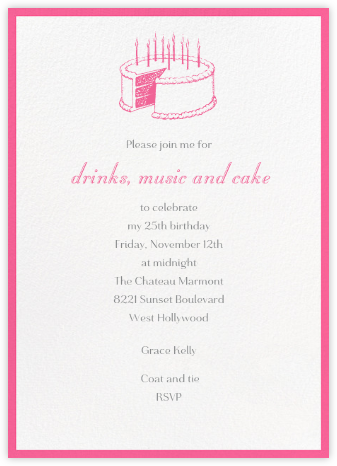 Contorno - Pink - Paperless Post - Adult Birthday Invitations