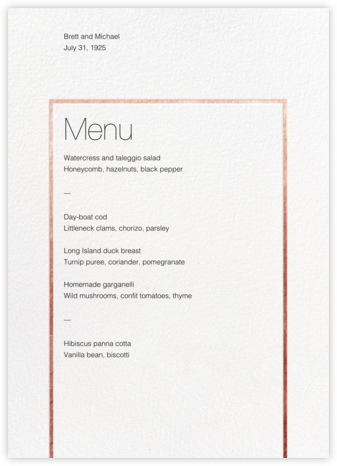Veldener (Menu) - Rose Gold - Paperless Post - Wedding menus and programs - available in paper