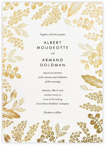 Heather and Lace (Invitation) - White/Gold | null