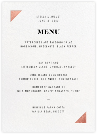 Palermo (Menu) - Rose Gold - Paperless Post - Wedding menus and programs - available in paper