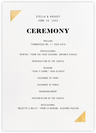 Palermo (Program) - Gold - Paperless Post - Wedding menus and programs - available in paper