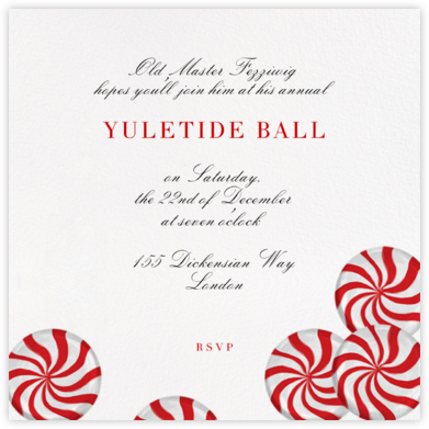 Peppermints on Ivory - Paperless Post - Holiday invitations