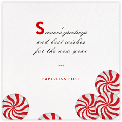 Peppermints on Ivory - Paperless Post - Company holiday cards