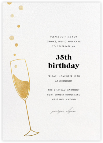 Champagne Bubbles - Gold - Paperless Post - Adult birthday invitations