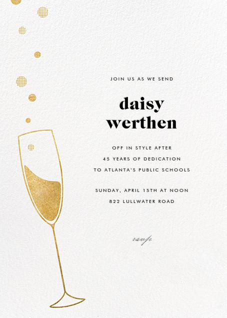 Champagne Bubbles - Gold - Paperless Post - Retirement invitations, farewell invitations