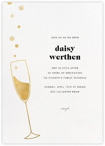 Champagne Bubbles - Gold - Paperless Post - Farewell party invitations