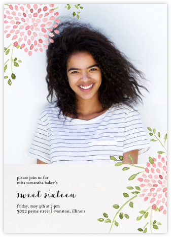 Dahlias (Photo) - Pink - Paperless Post - Sweet 16 invitations