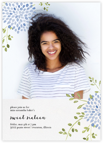Dahlias (Photo) - Blue - Paperless Post - Sweet 16 invitations