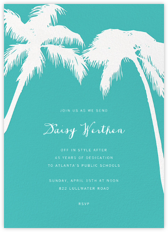 Tropical Palm - Lagoon - Paperless Post - Farewell party invitations