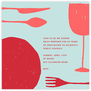 Place Setting (Square) - Red - Paperless Post - Retirement invitations, farewell invitations
