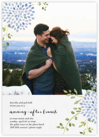Dahlias (Photo) - Blue - Paperless Post - Wedding brunch invitations