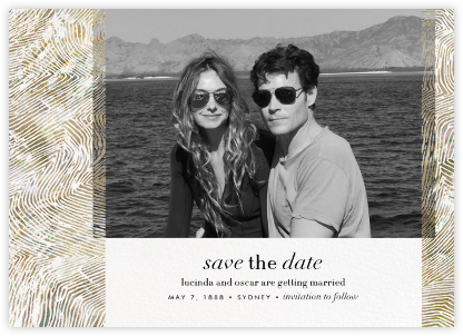 Aria (Photo Save the Date) - Sepia - Kelly Wearstler - Modern save the dates
