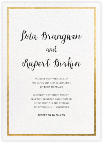 Idylle (Invitation) - White/Gold - Paperless Post - Wedding Invitations