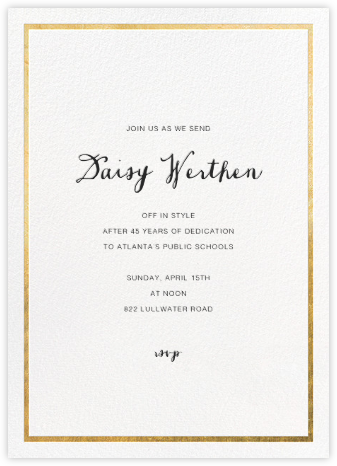 Idylle - White/Gold - Paperless Post - Retirement Invitations