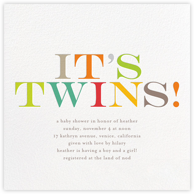 It's Twins  - bluepoolroad - Baby shower invitations
