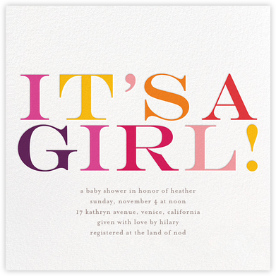 It's a Girl - bluepoolroad - bluepoolroad invitations and cards