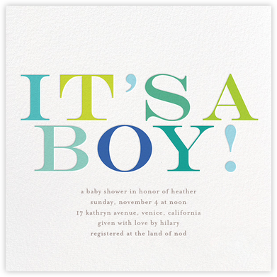 It's a Boy - bluepoolroad - Celebration invitations