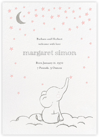 Starry Elephant - Pink - Hello!Lucky - Birth Announcements