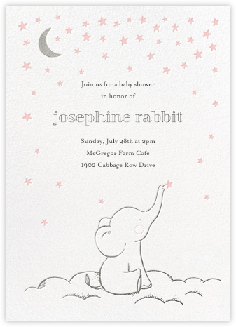 Starry Elephant - Pink - Hello!Lucky - Baby Shower Invitations