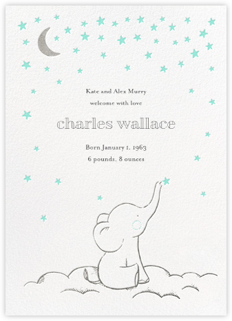 Starry Elephant - Blue - Hello!Lucky - Baby Boy Announcement