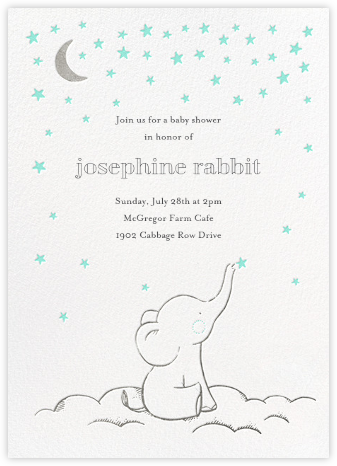 Starry Elephant - Blue - Hello!Lucky - Elephant Baby Shower Invitations