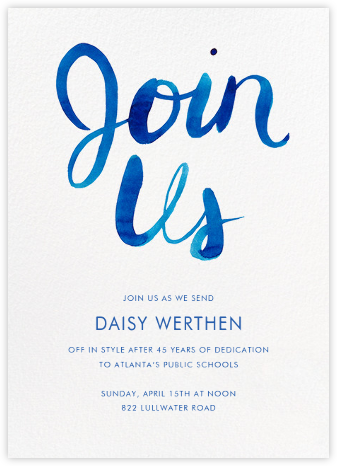 Join Us - Blue - Linda and Harriett - Business Party Invitations