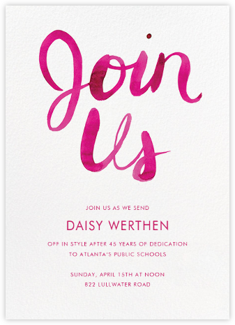 Join Us - Pink - Linda and Harriett - Business event invitations