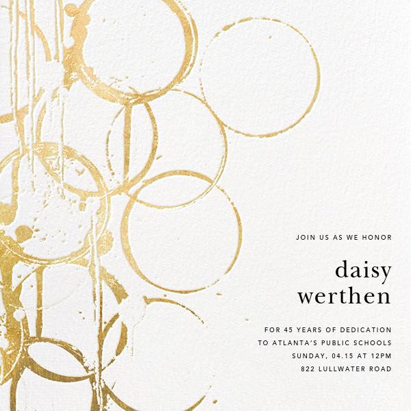 Bottle Shock - Gold - Kelly Wearstler - Retirement invitations, farewell invitations