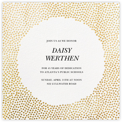 Konfetti - Gold - Kelly Wearstler - Retirement Invitations
