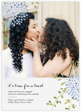 Dahlias (Photo) - Blue - Paperless Post - Engagement party invitations