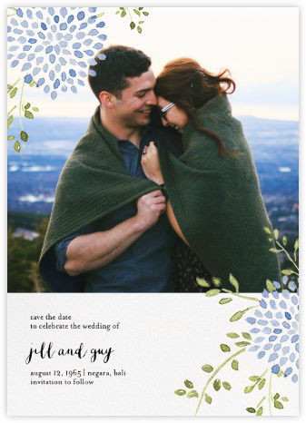 Dahlias (Photo Save the Date) - Blue - Paperless Post - Save the dates