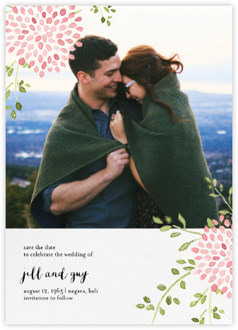 Dahlias (Photo Save the Date) - Pink - Paperless Post - Save the dates