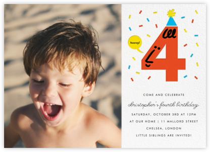 Birthday Faces Photo (Four) - White - The Indigo Bunting - Online Kids' Birthday Invitations